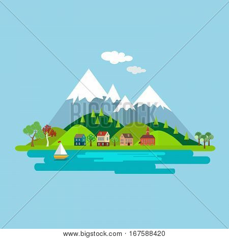 Natural landscape with houses on a background of forest and lake Mountains. Isolated on white background. Vector, illustration EPS10
