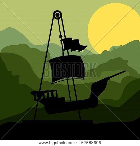 sunset background amusement park pirate ship line vector illustration