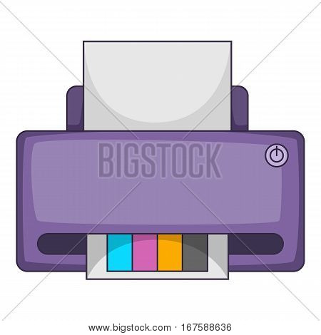 Printer with CMYK colored paper icon. Cartoon illustration of printer with CMYK colored paper vector icon for web