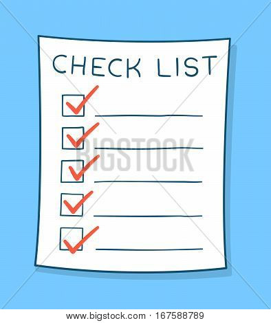 Cartoon checklist with red check marks and blank copy space on lines over a blue background vector illustration