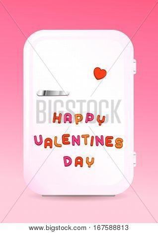 Retro fridge greeting card with HAPPY VALENTINES DAY sign of colored letter magnets on pink background vector illustration