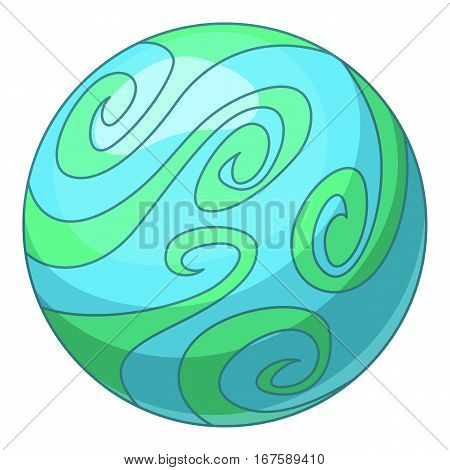 Blue abstract planet icon. Cartoon illustration of blue abstract planet vector icon for web