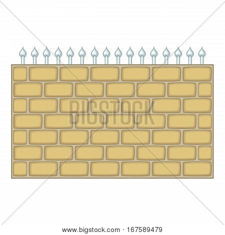 Brick wall fence icon. Cartoon illustration of brick wall fence vector icon for web