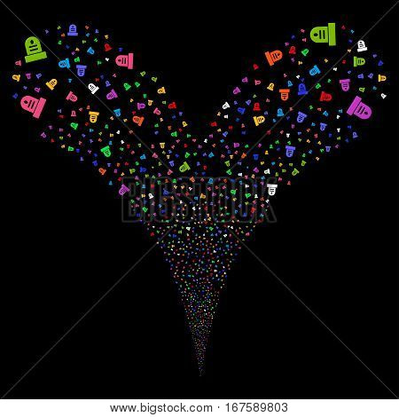 Grave fireworks stream. Vector illustration style is flat bright multicolored iconic symbols on a black background. Object double fountain organized from random design elements.