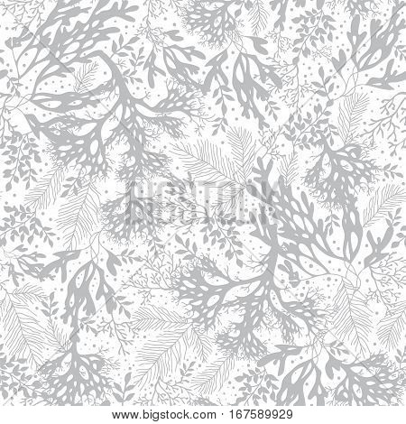 Vector Silver Grey Seaweed Texture Seamless Pattern Background. Great for elegant gray texture fabric, cards, wedding invitations, wallpaper. Textile pattern design.