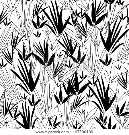 Vector Black and White Asian bamboo Kimono Seamless Pattern Background. Great for elegant gray texture fabric, cards, wedding invitations, wallpaper. Textile pattern design.