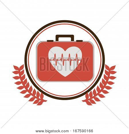 circular border with ornament leaves with first aid kit with heart with signs of life vector illustration