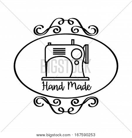 hand made emblem with vintage emblem and sewing machine icon over white background. vector illustration