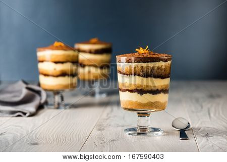 Tiramisu Dessert On A Grey Rustic Table