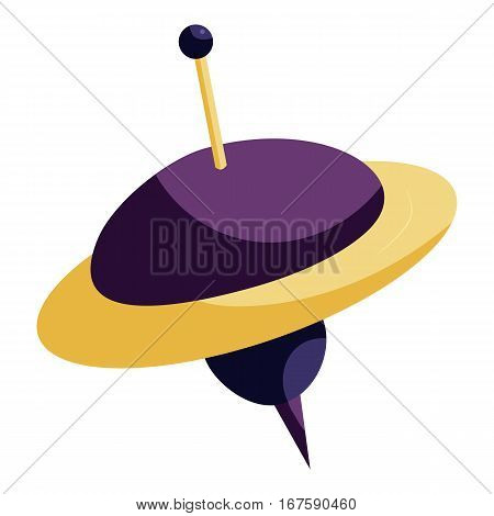 Toy spinning top icon. Cartoon illustration of toy spinning top vector icon for web