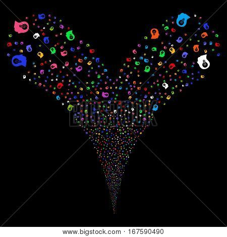 Intellect Bulb fireworks stream. Vector illustration style is flat bright multicolored iconic symbols on a black background. Object double fountain constructed from random pictograms.