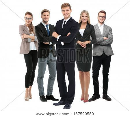 Group of smiling business people. Isolated over white background