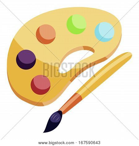Art palette and brush icon. Cartoon illustration of art palette and brush vector icon for web