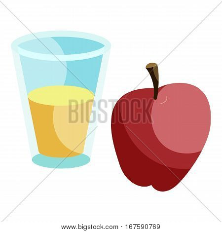Glass of milk drink and red apple icon. Cartoon illustration of glass of milk drink and red apple vector icon for web
