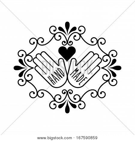 vintage emblem with hands and heart icon over white background. hand made concept. vector illustration