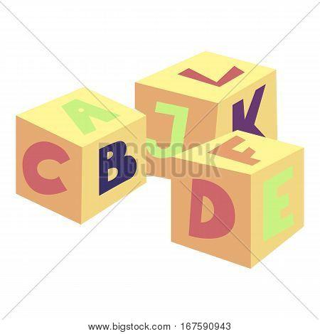 Alphabet cubes toy icon. Cartoon illustration of alphabet cubes toy vector icon for web