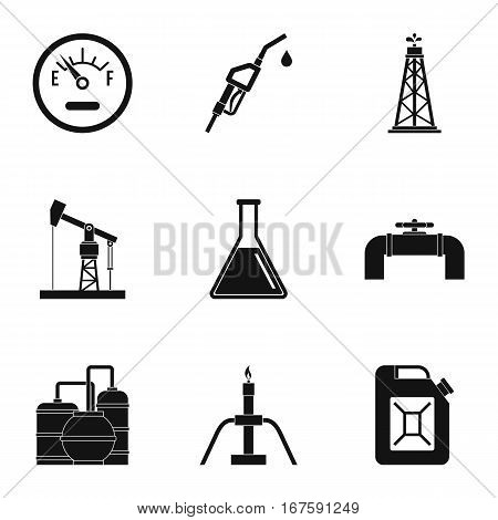 Oil icons set. Simple illustration of 9 oil vector icons for web