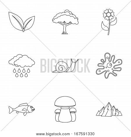Nature icons set. Outline illustration of 9 nature vector icons for web