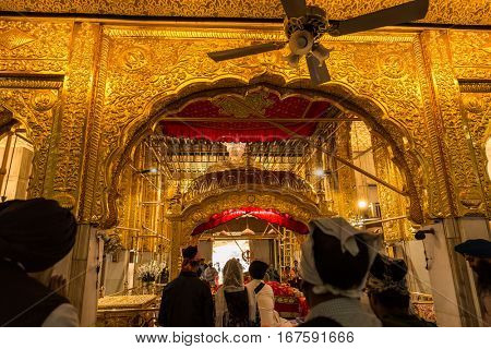 NEW DELHI, INDIA - CIRCA NOV 2016: Gurudwara Bangla Sahib Sikh Temple, New Delhi, India