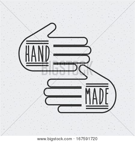 hand made emblem on hands shape over white background. vector illustration