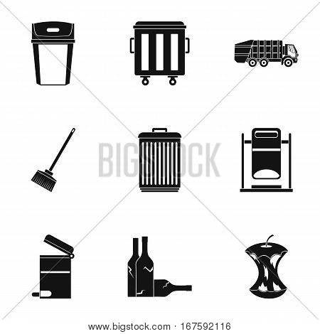 Garbage icons set. Simple illustration of 9 garbage vector icons for web