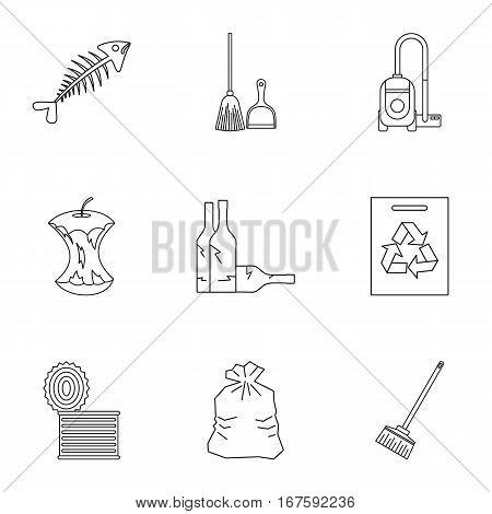 Trash icons set. Outline illustration of 9 trash vector icons for web
