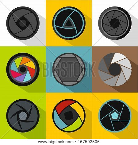 Types of aperture icons set. Flat illustration of 9 types of aperture vector icons for web