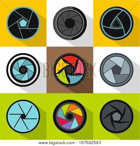 Aperture icons set. Flat illustration of 9 aperture vector icons for web