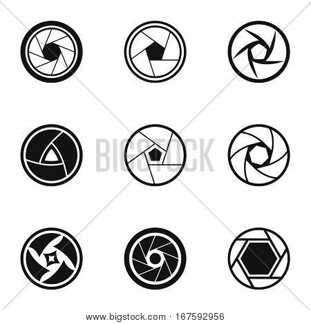 Kind of aperture icons set. Simple illustration of 9 kind of aperture vector icons for web