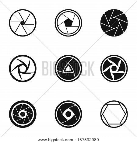 Aperture of camera icons set. Simple illustration of 9 aperture of camera vector icons for web