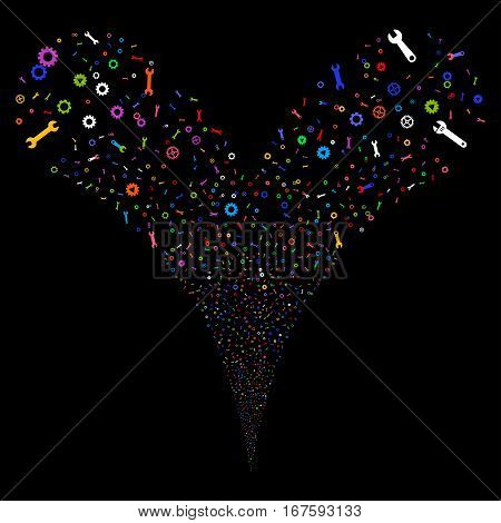 Setup Tools fireworks stream. Vector illustration style is flat bright multicolored iconic symbols on a black background. Object double fountain combined from random design elements.