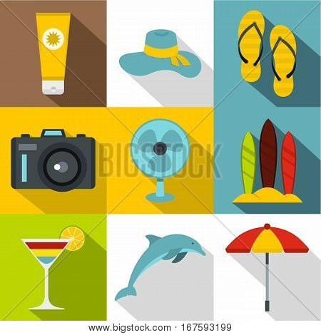 Trip to sea icons set. Flat illustration of 9 trip to sea vector icons for web