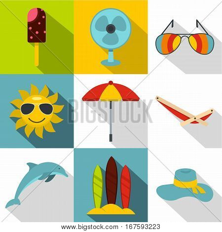 Rest on sea icons set. Flat illustration of 9 rest on sea vector icons for web