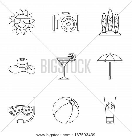 Travel to sea icons set. Outline illustration of 9 travel to sea vector icons for web