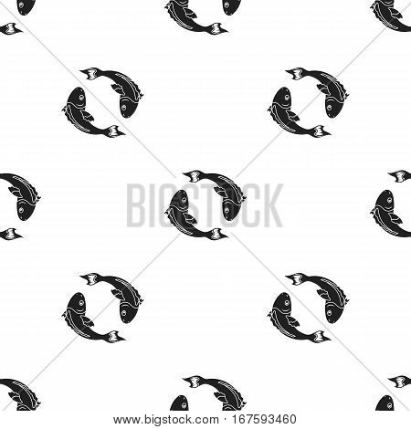 Koi fishes icon in black style isolated on white background. Religion pattern vector illustration. - stock vector