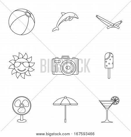 Journey to sea icons set. Outline illustration of 9 journey to sea vector icons for web