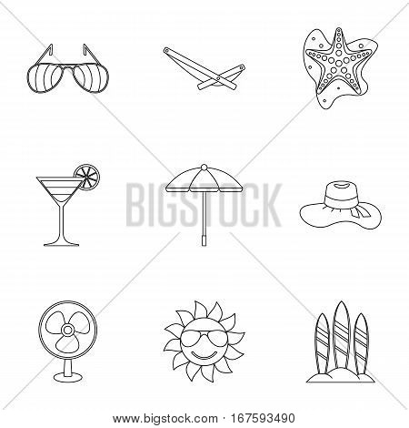 Trip to sea icons set. Outline illustration of 9 trip to sea vector icons for web