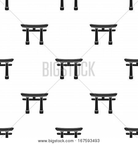 Torii icon in black style isolated on white background. Religion pattern vector illustration. - stock vector
