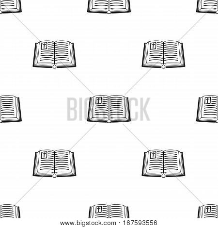 Bible icon in black style isolated on white background. Religion pattern vector illustration. - stock vector