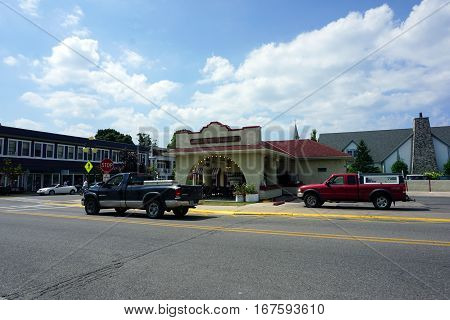 HARBOR SPRINGS, MICHIGAN / UNITED STATES - AUGUST 4, 2016: One may purchase groceries, sandwiches and coffee at the Hollywood Market in downtown Harbor Springs, Michigan.