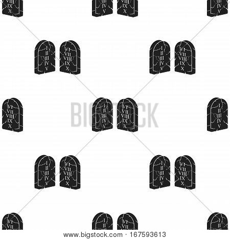 Ten Commandments icon in black style isolated on white background. Religion pattern vector illustration. - stock vector