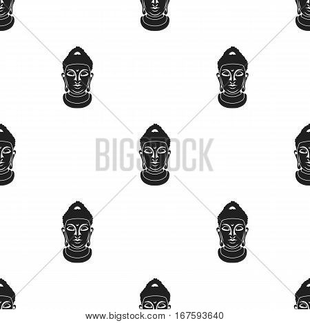 Buddha icon in black style isolated on white background. Religion pattern vector illustration. - stock vector
