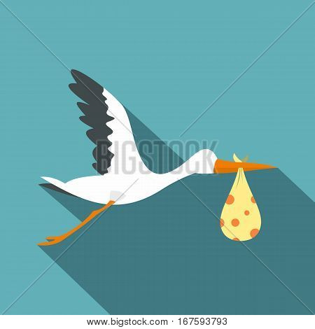 Flying stork with a bundle icon. Flat illustration of flying stork with a bundle vector icon for web on baby blue background