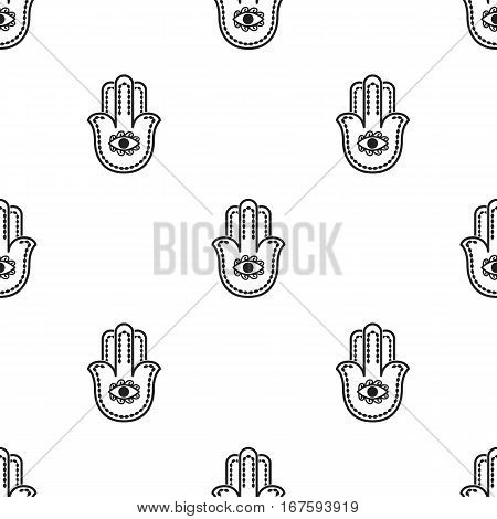 Hamsa icon in black style isolated on white background. Religion pattern vector illustration. - stock vector