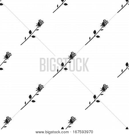Rose icon in black style isolated on white background. Romantic pattern vector illustration. - stock vector