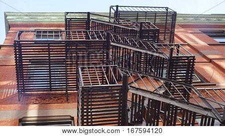 New York City Building Fire Escape Stairs