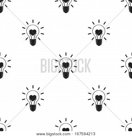 Lightbulb icon in black style isolated on white background. Romantic pattern vector illustration. - stock vector