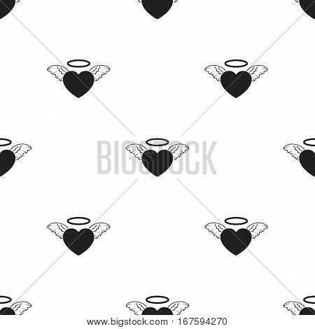 Heart icon in black style isolated on white background. Romantic pattern vector illustration. - stock vector