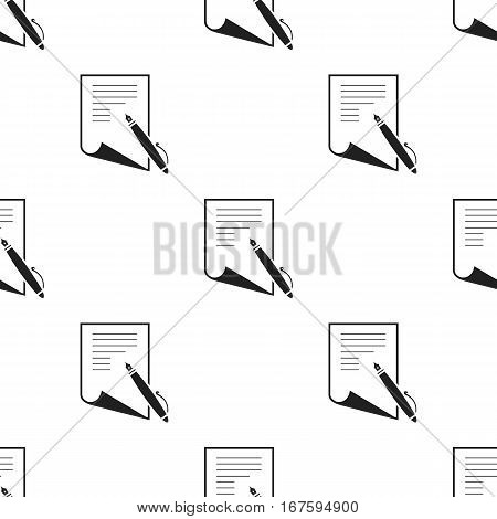 Paper and pen icon black. Single education icon from the big school, university black. - stock vector