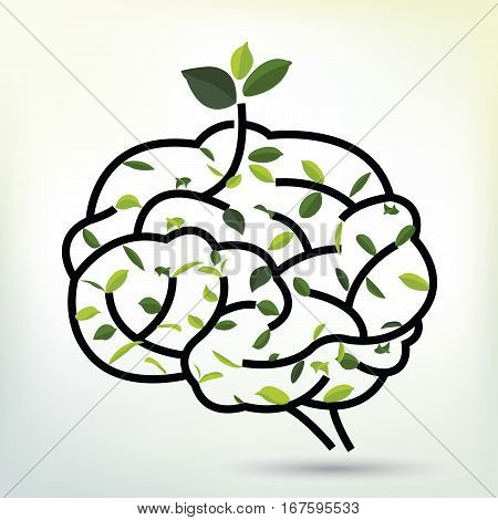 Lungs with Green leaf. Black outline vector illustration. Human lungs. Medical flat illustration. Health care. Tree branches like the lungs. Branches with leaves.